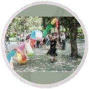 0263-jingshan Park - Light Color Pencils Sl Round Beach Towel
