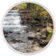0278 South Elgin Waterfall Round Beach Towel