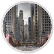 0295 Lasalle Street Chicago Round Beach Towel