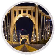 0304 Roberto Clemente Bridge Pittsburgh Round Beach Towel by Steve Sturgill