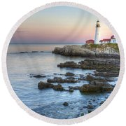 0312 Portland Head Lighthouse Round Beach Towel
