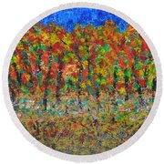 035 Fall Colors Round Beach Towel