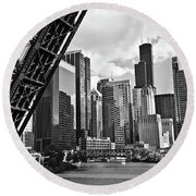 0365 North Branch Chicago River Black And White Round Beach Towel