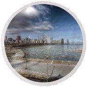 0488 Chicago Skyline Round Beach Towel
