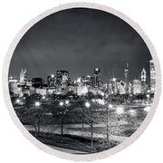 0647 Chicago Black And White Round Beach Towel
