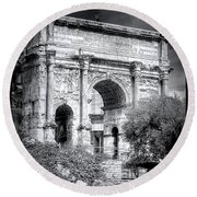 0791 The Arch Of Septimius Severus Black And White Round Beach Towel
