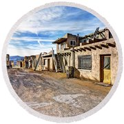 0926 Sky City - New Mexico Round Beach Towel