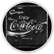 Coca Cola Sign Black And White Round Beach Towel