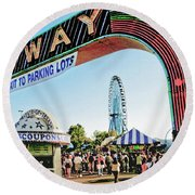 Midway Fun And Excitement  Round Beach Towel
