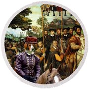 Irish Red And White Setter Art Canvas Print  Round Beach Towel