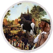Irish Setter Art Canvas Print Round Beach Towel