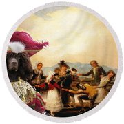 Irish Water Spaniel Art Canvas Print Round Beach Towel