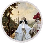 Japanese Chin Art Canvas Print  Round Beach Towel