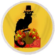 Thanksgiving Le Chat Noir With Turkey Pilgrim Round Beach Towel