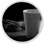 Workman's Coffee Break Round Beach Towel
