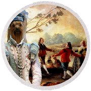 Yorkshire Terrier Art Canvas Print Round Beach Towel