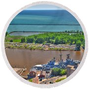 004 Visual Highs Of The Queen City Round Beach Towel