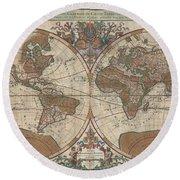 1691 Sanson Map Of The World On Hemisphere Projection Round Beach Towel