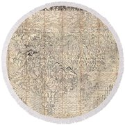 1710 First Japanese Buddhist Map Of The World Showing Europe America And Africa Round Beach Towel