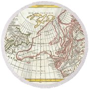 1772 Vaugondy  Diderot Map Of Alaska The Pacific Northwest And The Northwest Passage Round Beach Towel