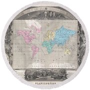 1852 Levasseur Map Of The World Round Beach Towel