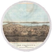 1856 Henry Bill Map And View Of San Francisco California Round Beach Towel