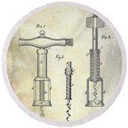 1876 Corkscrew Patent Drawing Round Beach Towel