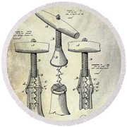 1883 Corkscrew Patent Drawing Round Beach Towel