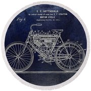 1901 Motorcycle Patent Drawing Blue Round Beach Towel