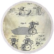1902 Duck Decoy Patent Drawing Round Beach Towel