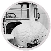 1910 Brooke Swan Car Round Beach Towel