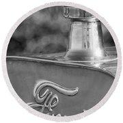 1911 Ford Model T Torpedo 4 Cylinder 25 Hp Hood Ornament  Emblem Round Beach Towel
