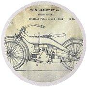 1924 Harley Davidson Motorcycle Patent  Round Beach Towel