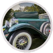 1929 Isotta Fraschini Tipo 8a Convertible Sedan Round Beach Towel