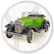 1931 Ford Model A Roadster Round Beach Towel