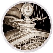 1931 Model A Ford Deluxe Roadster Hood Ornament Round Beach Towel