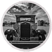 1931 Model T Ford Monochrome Round Beach Towel