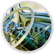 1933 Pontiac Steering Wheel -0463c Round Beach Towel
