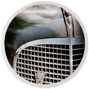 1937 Cadillac Hood Ornament And Grille Emblem Round Beach Towel