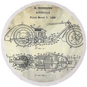 1939 Motorcycle Patent Drawing Round Beach Towel