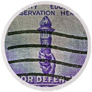 1940 For Defense Stamp Round Beach Towel