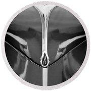 1940 Lincoln Zephyr Grille Emblem - Hood Ornament Round Beach Towel