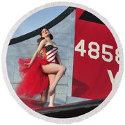 1940s Style Pin-up Girl Standing Round Beach Towel