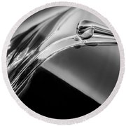 1941 Lincoln Contitnental Convertible Hood Ornament - Grille Emblem -0438bw Round Beach Towel