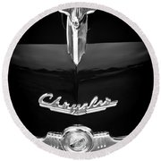 1949 Chrysler Town And Country Convertible Hood Ornament And Emblems Round Beach Towel
