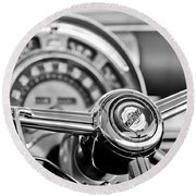 1949 Chrysler Town And Country Convertible Steering Wheel Emblem Round Beach Towel