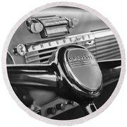 1950 Chevrolet 3100 Pickup Truck Steering Wheel Round Beach Towel