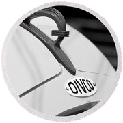 1950 Divco Milk Truck Hood Ornament Round Beach Towel