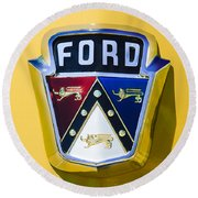 1950 Ford Custom Deluxe Station Wagon Emblem Round Beach Towel