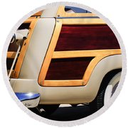 1950 Ford Custom Deluxe Station Wagon Rear End - Woodie Round Beach Towel